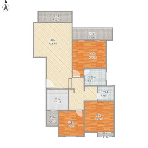 同济路1111弄3室1厅2卫1厨154.00㎡户型图