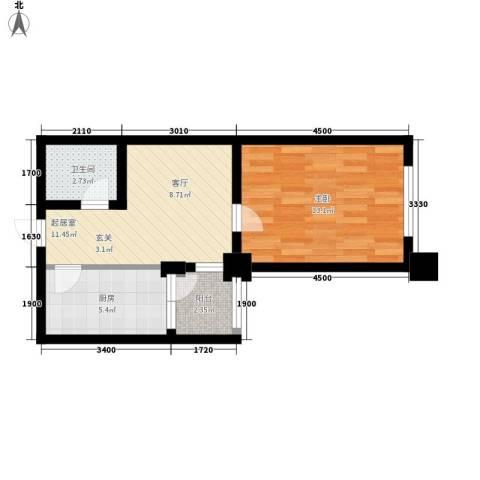 山海一家三期1室0厅1卫1厨51.00㎡户型图