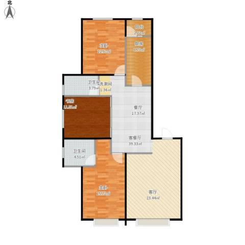 联想科技城3室1厅2卫1厨129.00㎡户型图