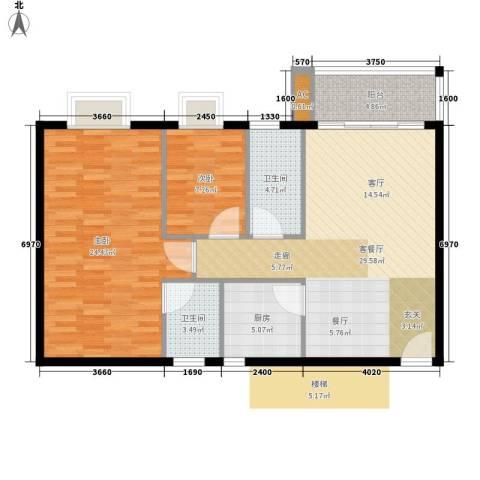 雍逸华庭2室1厅2卫1厨89.00㎡户型图