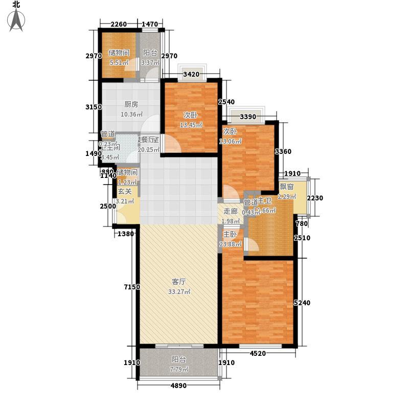 世茂外滩新城172.80㎡4#楼户型单页A户型3室2厅2卫1厨
