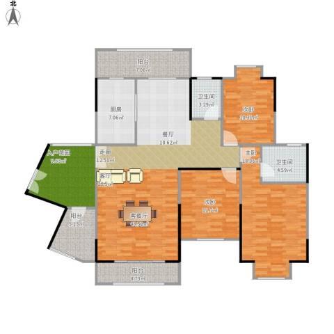 信基城3室1厅2卫1厨168.00㎡户型图