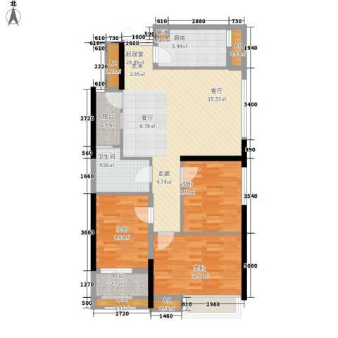 万科金御华府3室0厅1卫1厨89.00㎡户型图