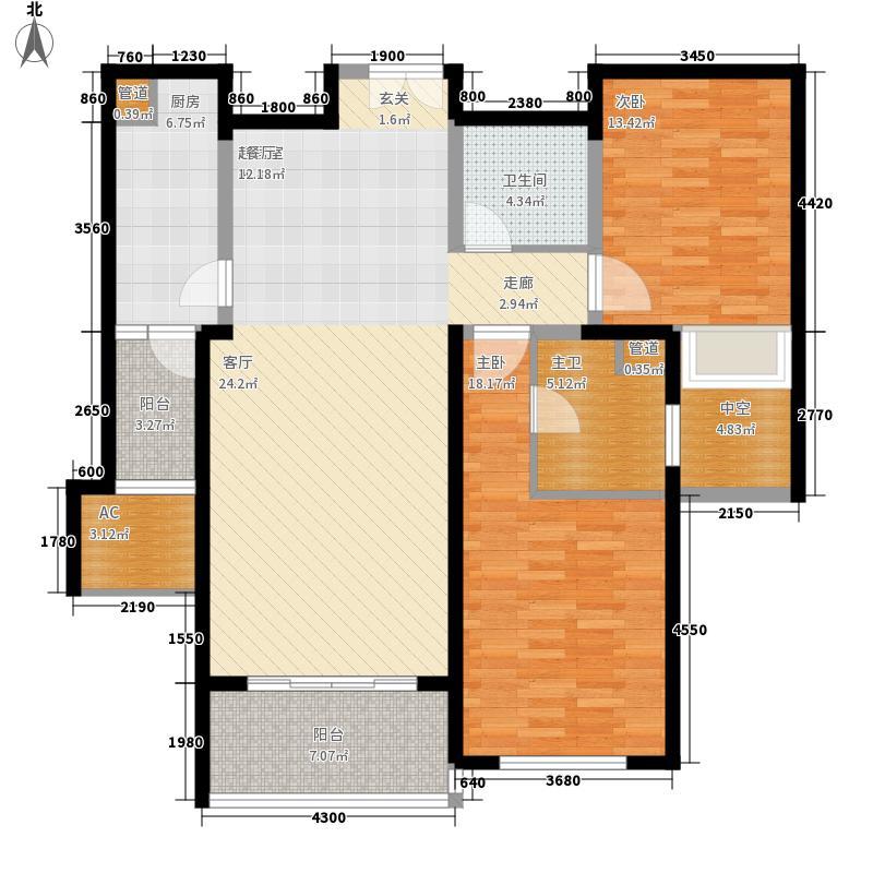 世茂外滩新城123.50㎡4#楼户型单页BE户型2室2厅2卫1厨