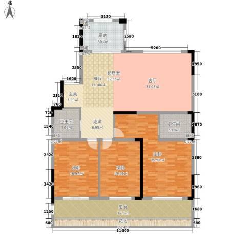 嘉鹏・25度海湾一号3室0厅2卫1厨178.00㎡户型图