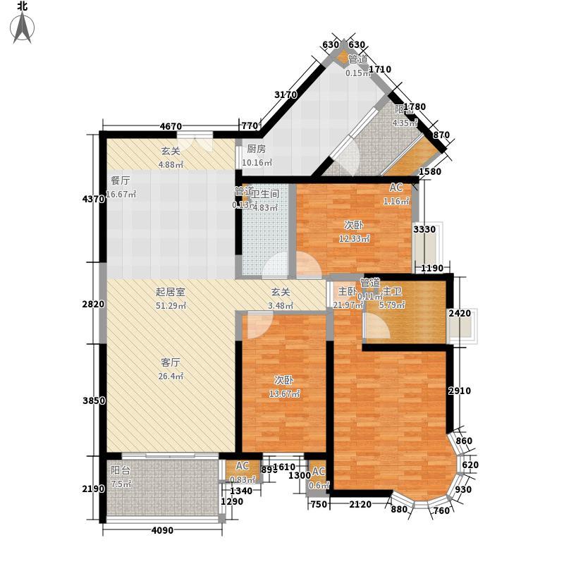世茂外滩新城153.00㎡一号楼户型0户型3室2厅2卫1厨