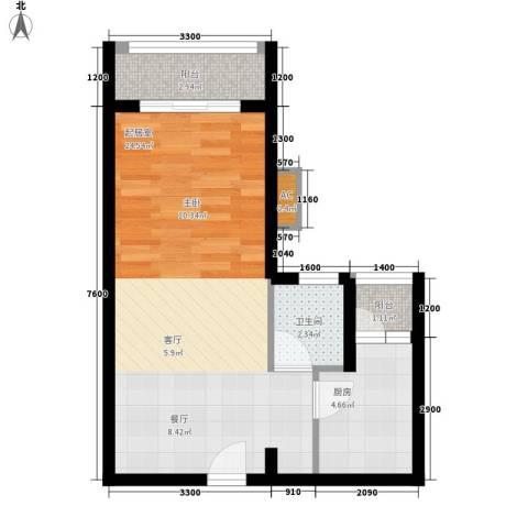 汇景・上层1卫1厨52.00㎡户型图
