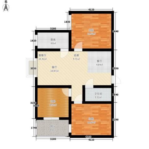 恒天第五座3室1厅1卫1厨111.00㎡户型图