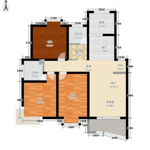 金典名筑3室0厅2卫1厨120.00㎡户型图