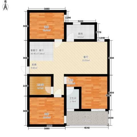 恒天第五座3室1厅2卫1厨121.00㎡户型图
