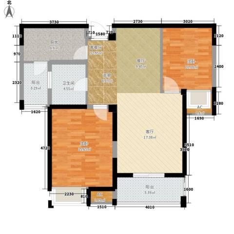 百乐广场2室1厅1卫1厨94.00㎡户型图
