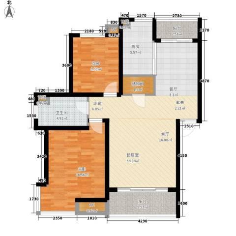 嘉业阳光假日2室0厅1卫1厨119.00㎡户型图