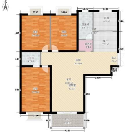 城市风景3室0厅2卫1厨123.00㎡户型图