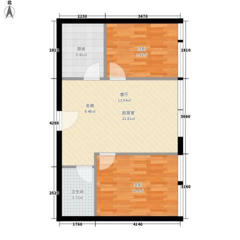 开发区国际大厦2室0厅1卫1厨80.00㎡户型图