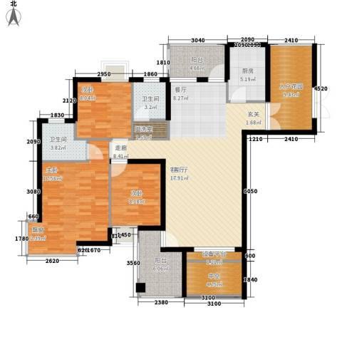 云河湾3室1厅2卫1厨126.00㎡户型图