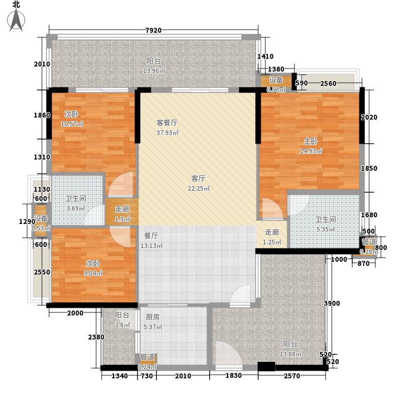 北江明珠135.00㎡北江明珠户型图2座01单元3室2厅2卫1厨户型3室2厅2卫1厨