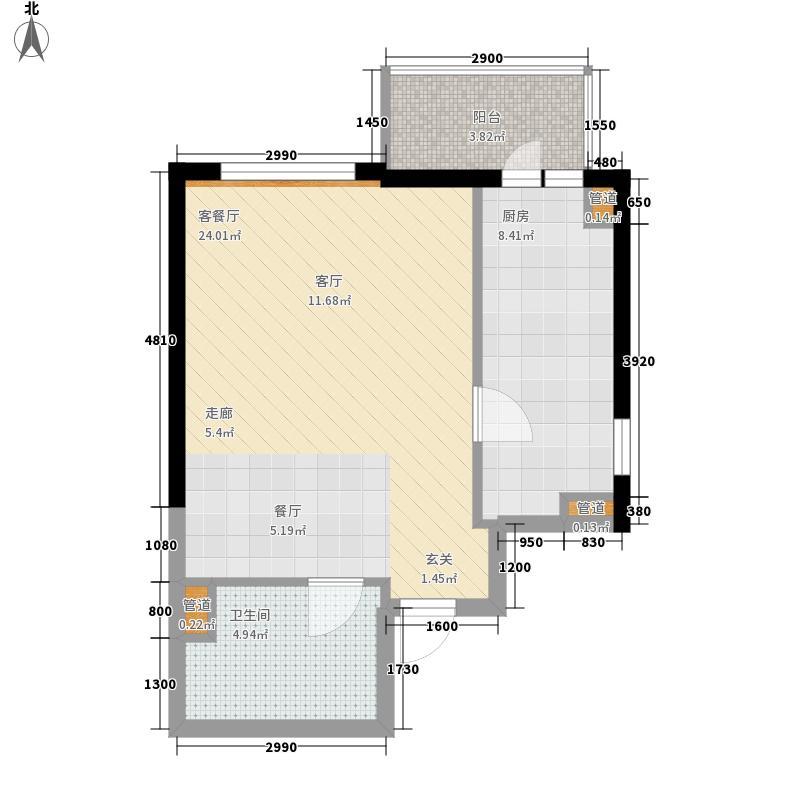 金隅国际G座D户型1室1厅1卫1厨