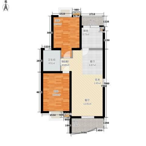 金虹花园2室1厅1卫1厨82.00㎡户型图