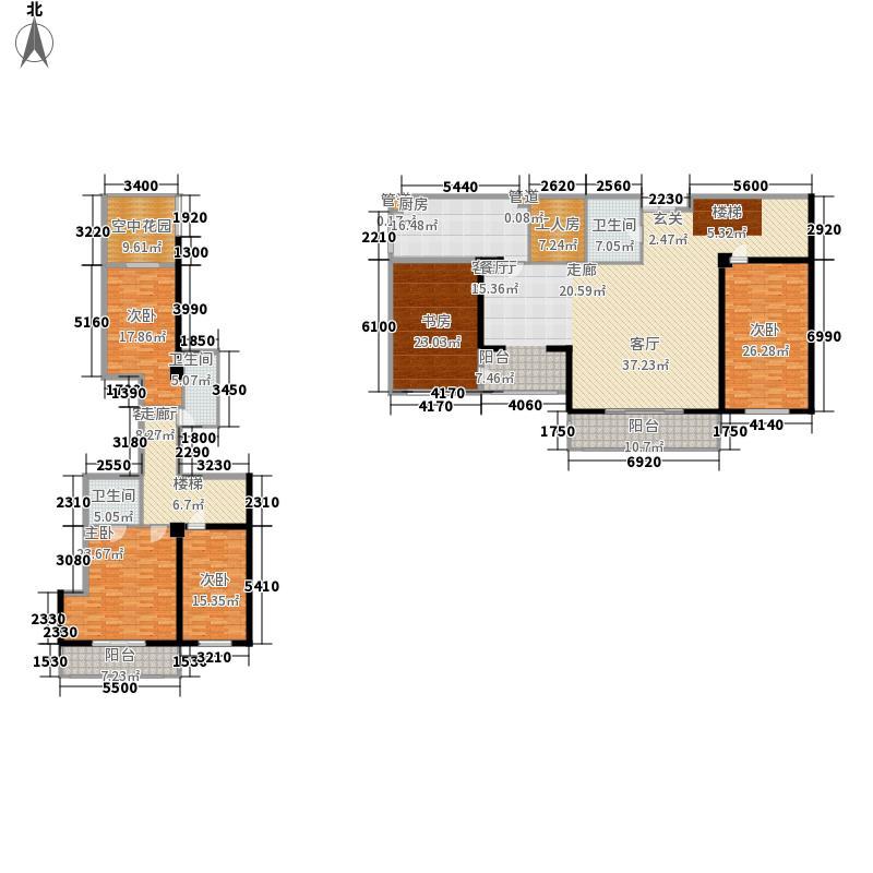 华富瑞士豪庭308.28㎡D海德城堡户型5室2厅3卫1厨