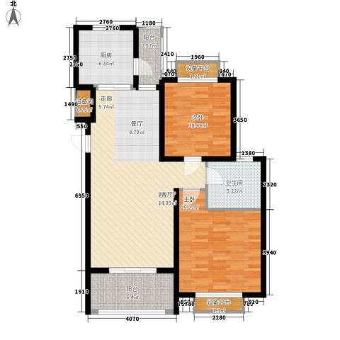 保利金爵公寓2室1厅1卫1厨115.00㎡户型图