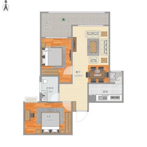 首创光合城2室1厅1卫1厨87.00㎡户型图