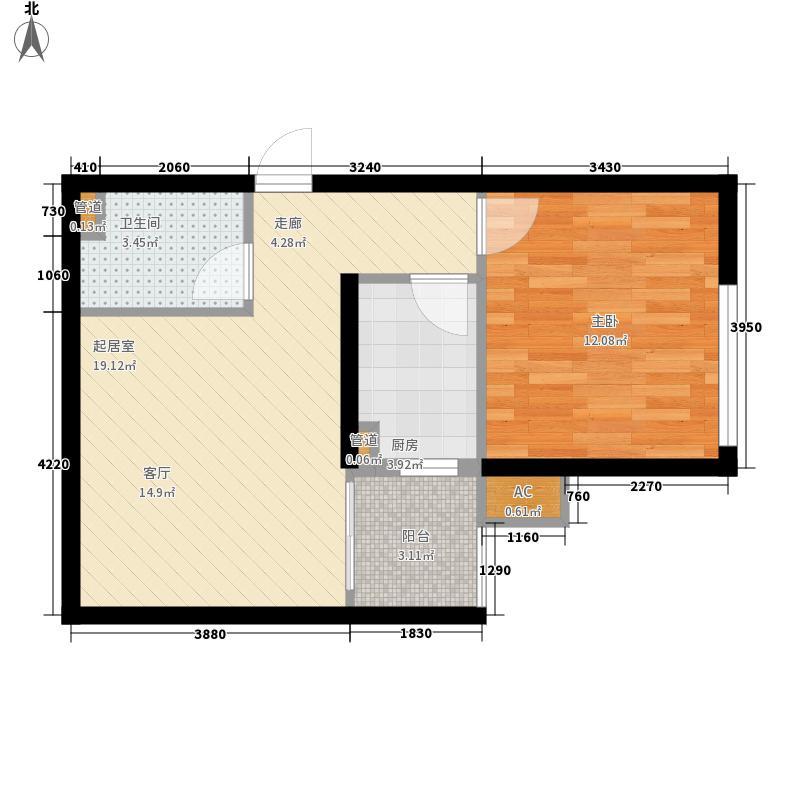 银基地王国际花园48.78㎡银基地王国际花园户型图1室1厅1卫1厨户型10室