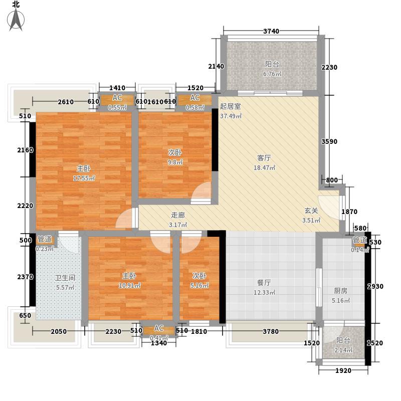 优山悦海119.03㎡B6栋03单位户型3室2厅