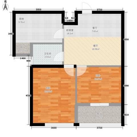 瑞宝国际花苑2室0厅1卫1厨83.00㎡户型图