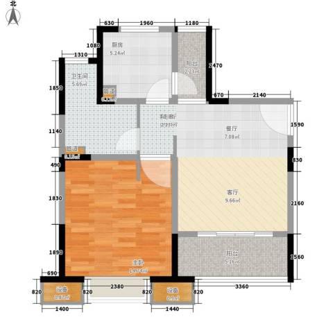 经纬城市绿洲三期观澜泓郡1室1厅1卫1厨64.00㎡户型图