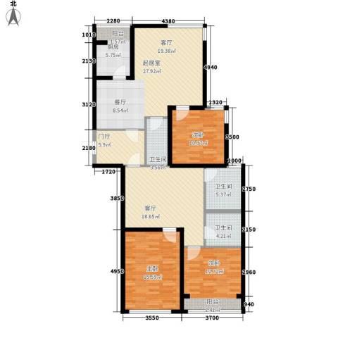 瑞宝国际花苑3室1厅3卫1厨156.00㎡户型图