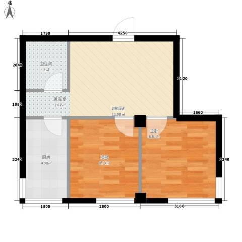 文景清华园2室0厅1卫1厨57.00㎡户型图