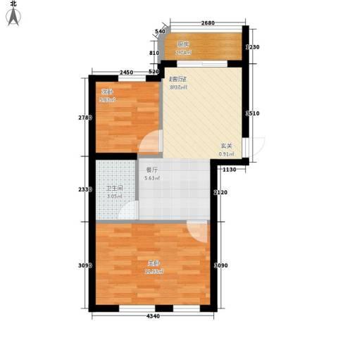 文景清华园2室0厅1卫1厨72.00㎡户型图