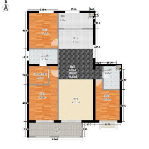 京投银泰·琨御府3室0厅2卫1厨153.00㎡户型图