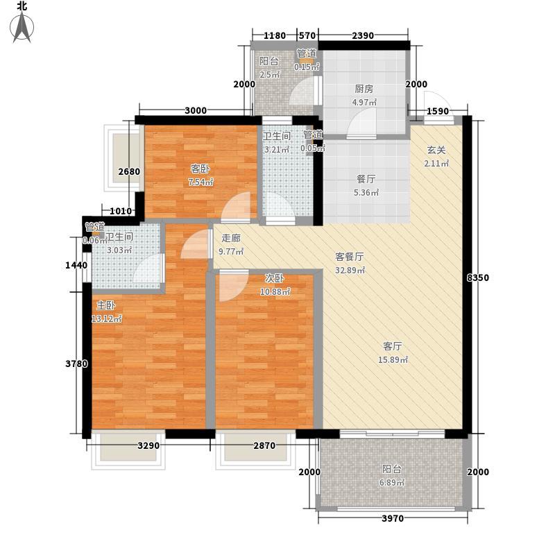 恒创恒福花园98.68㎡恒创恒福花园户型图3期4幢标准层02户型3室2厅2卫1厨户型3室2厅2卫1厨