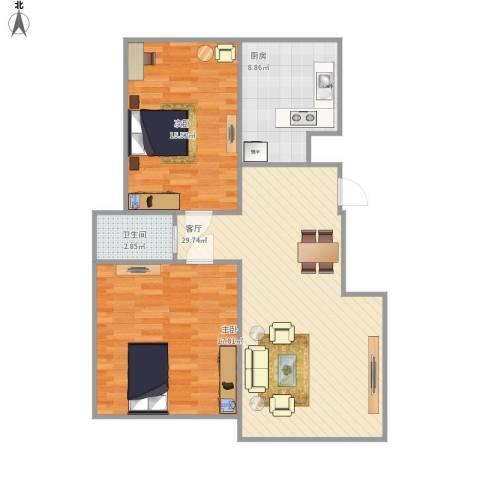 两淮・宿州新城2室1厅1卫1厨100.00㎡户型图