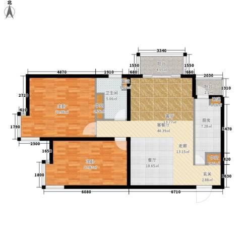北苑家园秀城2室1厅1卫1厨112.00㎡户型图