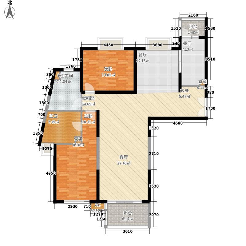 世茂外滩新城139.00㎡一号楼户型D户型2室2厅2卫1厨