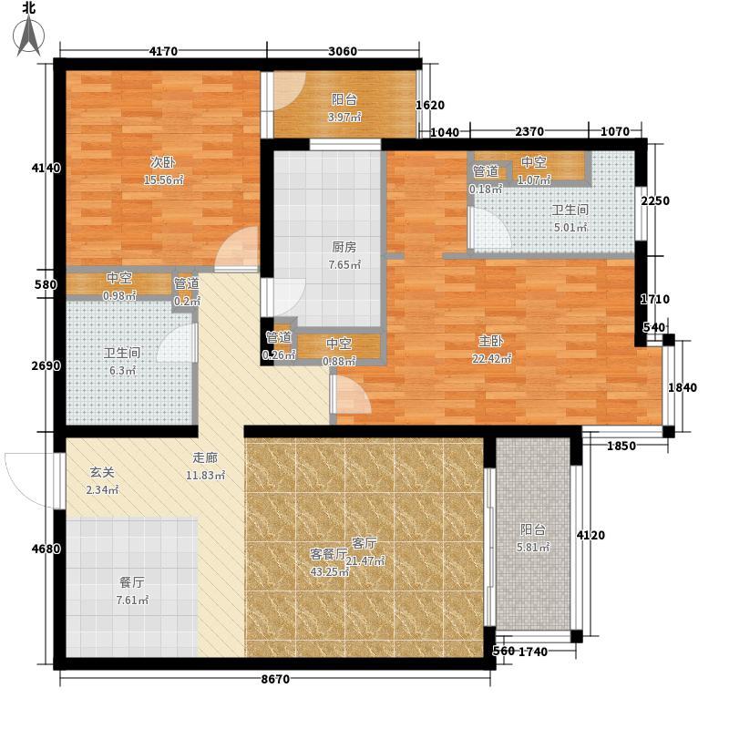 北苑家园秀城125.83㎡203号楼03户型2室2厅2卫1厨