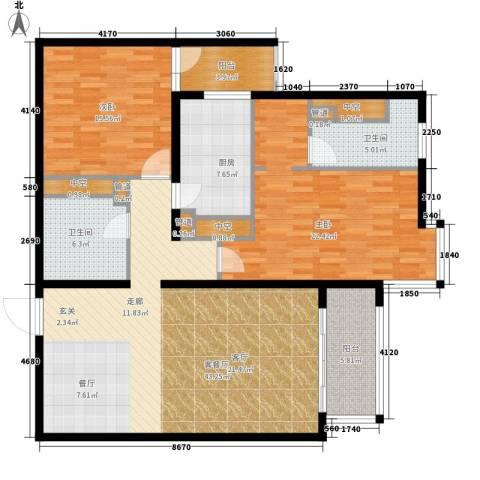 北苑家园秀城2室1厅2卫1厨126.00㎡户型图