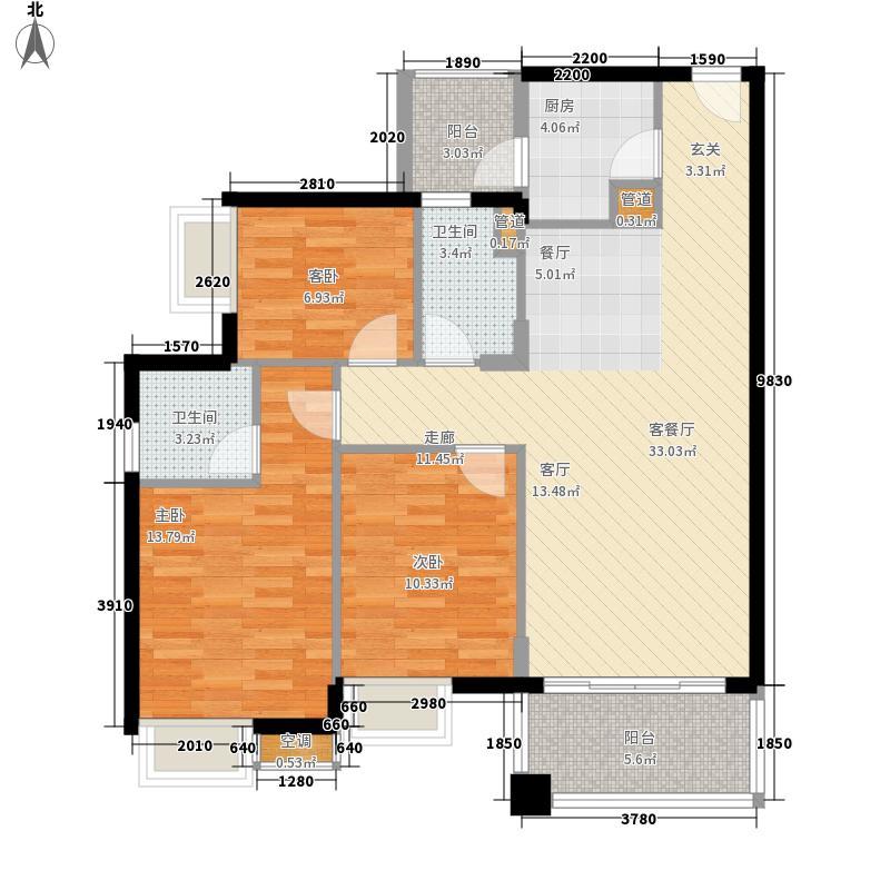 恒创恒福花园95.54㎡恒创恒福花园户型图3期6幢标准层02户型3室2厅2卫1厨户型3室2厅2卫1厨