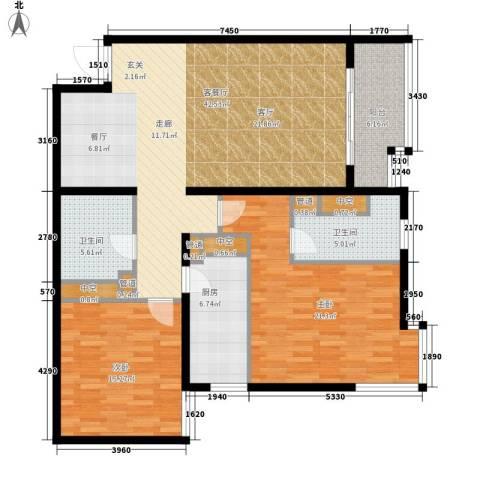 北苑家园秀城2室1厅2卫1厨119.00㎡户型图
