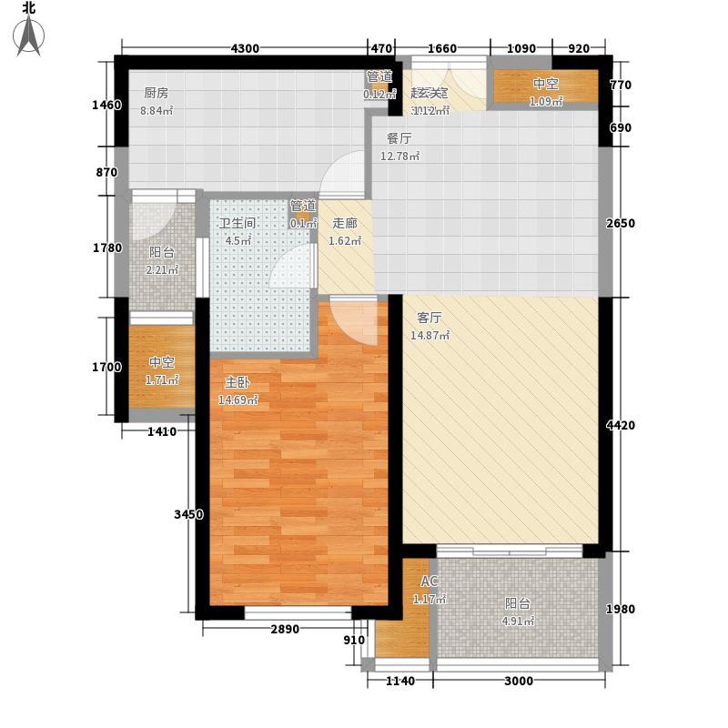 世茂外滩新城80.00㎡一号楼户型BCFGJ户型1室2厅1卫1厨