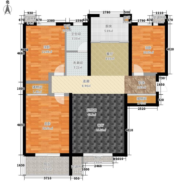泰华学府114.30㎡1#-4#、7-15#楼D户型3室2厅1卫1厨