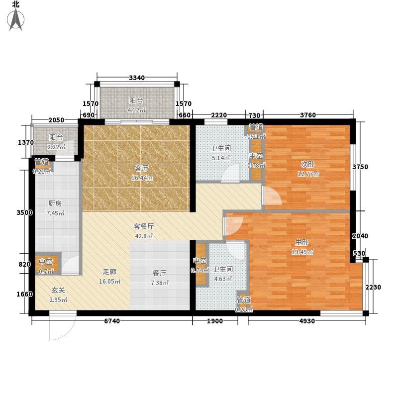 北苑家园秀城111.63㎡203号楼01户型2室2厅2卫1厨