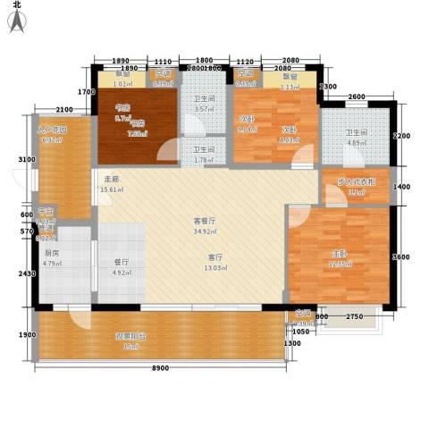 星海花园3室1厅2卫1厨148.00㎡户型图