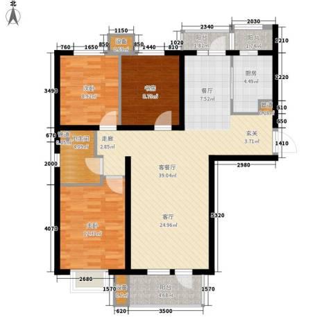 河畔新城・名门组团3室1厅1卫1厨117.00㎡户型图