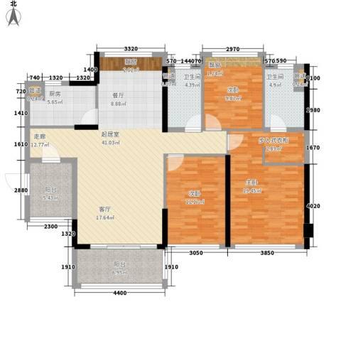 敏捷・金月湾3室0厅2卫1厨157.00㎡户型图