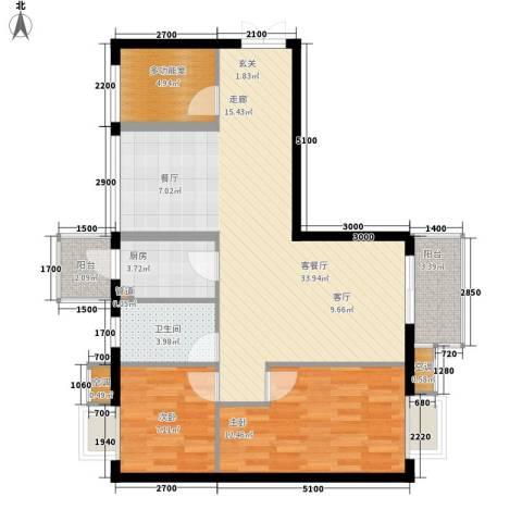 箐英时代2室1厅1卫1厨72.73㎡户型图
