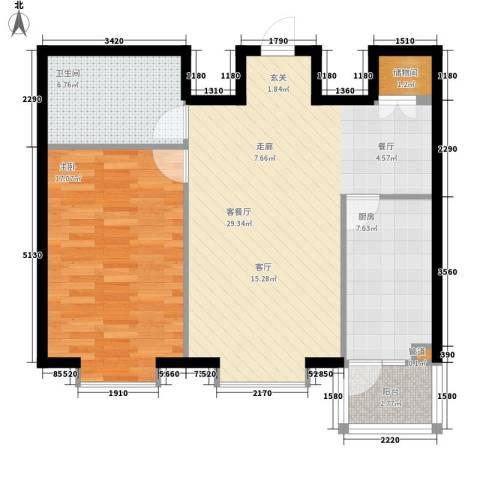 富丽国际1室1厅1卫1厨69.00㎡户型图