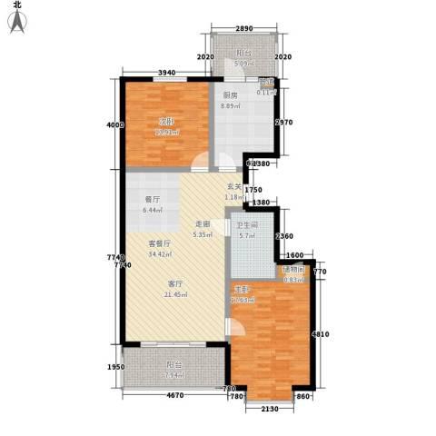 富丽国际2室1厅1卫1厨98.00㎡户型图